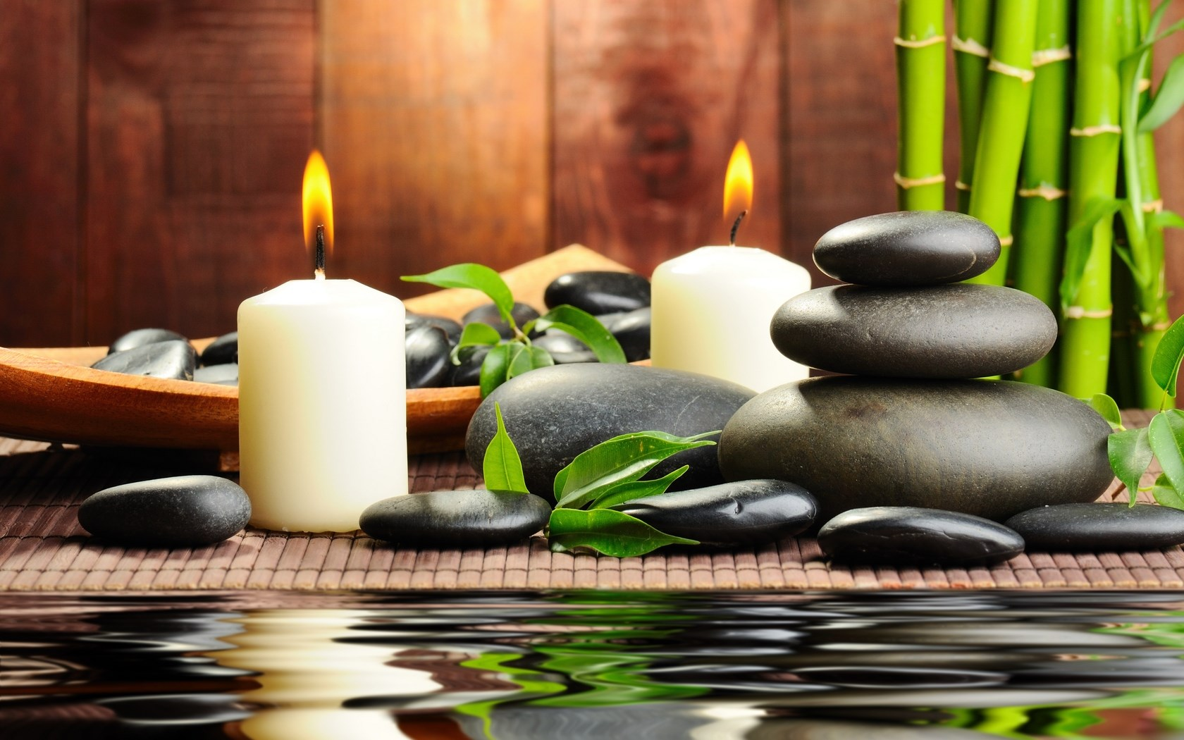 18 Mar 2014 02 54 50Stones Black Massage Spa Candles Water Bamboo Wallpapers 75
